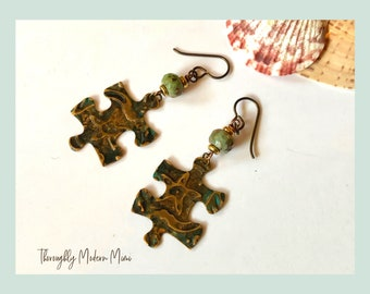 Puzzle piece earrings | embossed brass and agate earrings | allergy free niobium ear wires | ready to ship gift