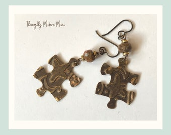 Puzzle piece dangle earrings | hand embossed starfish motif | brown agate stones | ready to ship gift jewelry