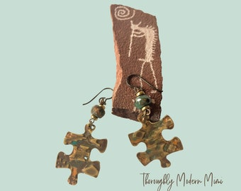 Southwest style puzzle piece earrings | embossed brass with agates | niobium ear wires
