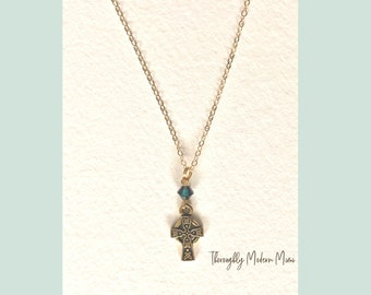 Celtic cross necklace with green crystal accent bead | gold plated charm and chain | ready to ship gift
