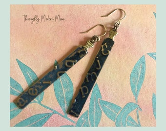 Embossed brass long dangle earrings | gold plated ear wires | ready to ship jewelry