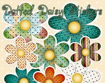 Dotted Daisy Stickers - Digital Floral Sticker Images for Scrapbook and Paper Crafts