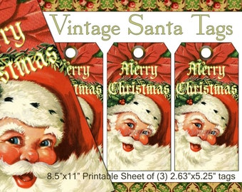 Vintage Santa Tags - Printable Sheet of Tags