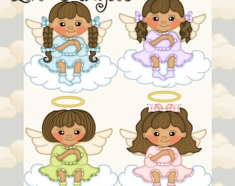 Lil Angels Brown Hair - Digital Clipart Graphics Images
