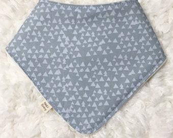 Bandana Bib ~ Grey Triangles