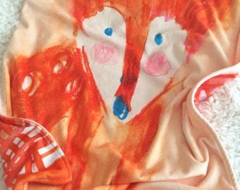 Minky Lovie Blanket ~ foxy madras