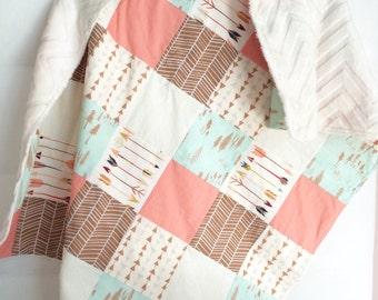 Wild & Free Coral, Mint, Tan, Cream Patchwork Snuggle Blanket