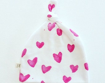 Knot Top Beanie ~ pink water colour hearts
