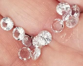 Ceylon Round Brilliant Cut White Sapphire 5mm ~0.5 cts each