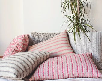 Rustic Pillows, Linen Farmhouse Pillow, Jungalow Pillow, Pink Striped Pillow, Blue Stripe Cushion, Jacquard Linen Throw, Rustic Home Decor