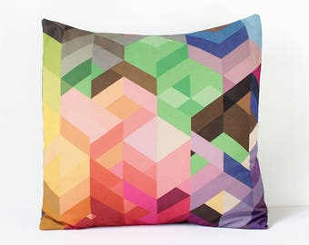 Geometric Pillow Cover, Colorful Chevron Pillow, Multicolor Cushion, Scandinavian Pillow, Decorative Kids Throw Pillow, Modern Home Decor