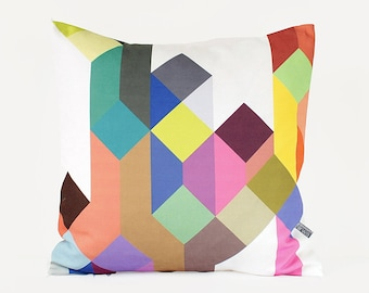 Colorful Geometric Pillow, Scandinavian Pillow, Pastel Patterned Cushion, Modern Home Decor, Valentine's Day Gift, Multicolor Kid's Throw
