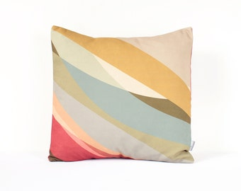 Abstract Decorative Pillow Cover in Beige, Red, Blue, Scandinavian Pillow, Modern Pillow, Pastel Pillow Cover, Red Throw, Housewarming Gift