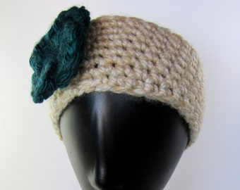 Teal Flower Earwarmer Headband