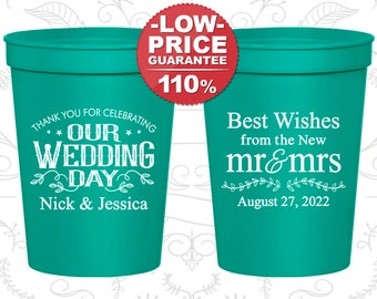 Plastic Wedding Cups, Personalized Cups, Wedding Cups, Personalized Plastic Cups, Stadium Cups, Party Cups, Plastic Cups (550)