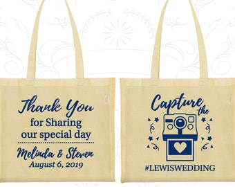 PopcornCandyWedding Favor Bags with Monogram and Wedding Hashtag in Foil Wedding Favors Personalized Custom Wedding and Event Bags