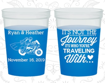 Motorcycle Wedding Its who your traveling with Destination Its not the Journey 455 Personalized Frosted Shot Glasses