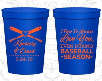 301 Fun Party Cups I Vow to Always Love You Even During Baseball Season Cheap Wedding Cups Baseball Wedding Cups