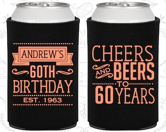 60th Birthday, 60th Birthday Favors, Adult Birthday, Cheers to 60 Years, Cheers and Beers, Party Favors (20001)