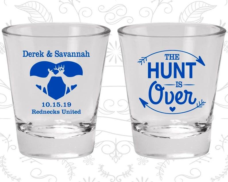 520 Deer Antler Wedding Shot Glasses Antler Wedding Shot Glasses The Hunt is Over Wedding Shot Glasses Glasses Custom Shot Glass
