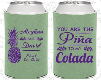 You are the Pina to My Colada, Personalized Wedding Gift, Tropical Wedding Gift, Pina Colada Favors, Pineapple Wedding Gift (464)
