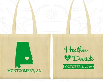 Alabama Wedding, Alabama Tote Bags, Canvas Bags, Destination Wedding Bags, State Tote Bags, Custom Printed Bags (100)
