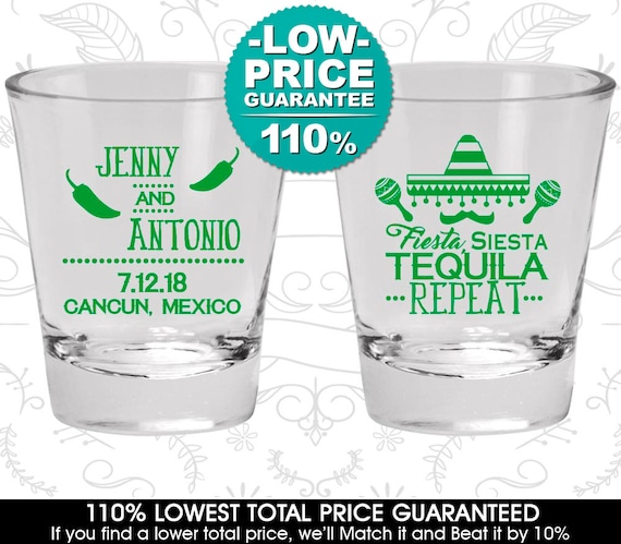 Fiesta Siesta Tequila Repeat Wedding Favor Shot Glass Mexican