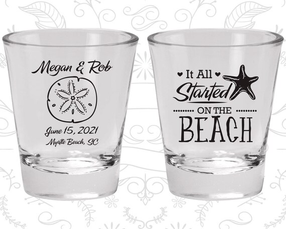 Black or Blue Wedding Shot Glasses Beach Wedding Decor Idea Beach Wedding Favors Personalized Shot Glasses For Wedding Guests Beach Love 1A