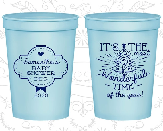 01533588c96 Christmas Baby Shower Cups, Personalized Baby Shower Stadium Cups, Xmas Baby  Shower Cups, Holiday Baby Shower, Baby Shower Favors (90190)