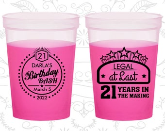 21st Birthday Mood Cups, Legal at Last, Birthday Bash, Birthday Color Changing Cups (20167)