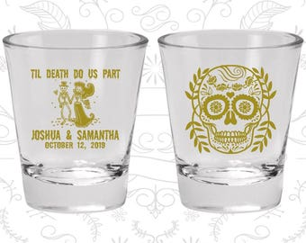 Till Death Do Us Part, Promotional Glass, Sugar Skull Shot Glasses, Day of the Dead Shot Glasses, Candy Skull Shot Glasses (597)