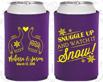 Snuggle up and watch it snow, Wedding Party Favors, Winter Wedding Favors, Christmas Wedding Favors, Wedding Can Holder (567)