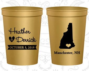 New Hampshire Wedding Cups, New Hampshire Wedding, Wedding Beer Cups, Destination Wedding, State Cups, Wedding Cups (128)