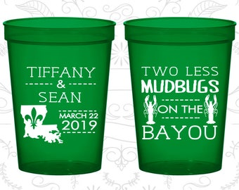 Two Less Mudbugs on the Bayou, Printed Beer Cups, Louisiana Cups, Nola Cups, Fleur De Lis Cups, Wedding Cups (336)