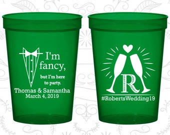 I am fancy, but I am here to party, Imprinted Wedding Cups, Tuxedo, Monogram Cups, Monogrammed Cups, Plastic Beer Cups (584)