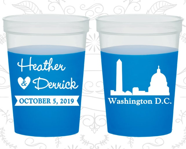 Washington DC Wedding, Color Changing Cups, Destination Wedding, State Wedding, Blue Mood Cups (150)