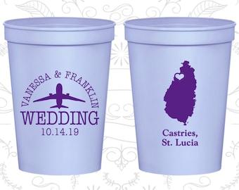 St Lucia Wedding Cups, St Lucia Wedding, Custom Beer Cups, Destination Wedding, Wedding Cups, Castries Cups (193)