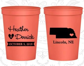 Nebraska Wedding Cups, Nebraska Wedding, Printed Beer Cups, Destination Wedding, State Cups, Wedding Cups (126)