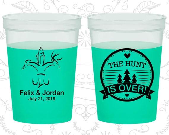 The Hunt is Over Wedding, Cheap Mood Stadium Cups, Hunting Wedding, Fishing Wedding, Green Mood Cups (521)