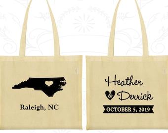 North Carolina Wedding, North Carolina Tote Bags, Custom Canvas Tote, Destination Wedding Bags, State Tote Bags, Wedding Party Totes (132)