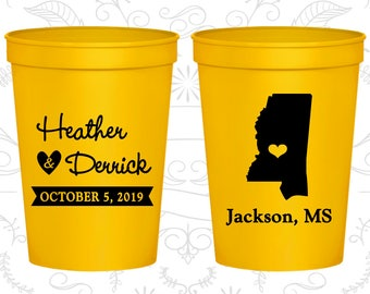 Mississippi Wedding Cups, Mississippi Wedding, Customized Beer Cups, Destination Wedding, State Cups, Wedding Cups (123)