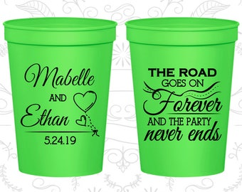The Road Goes on Forever and the Party Never Ends, Wedding Favor Beer Cups, Romantic Wedding, Fairy Tale Cups, Wedding Cups (479)