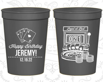 21st Birthday Cups, Personalized Birthday Favor Cups, Vegas Birthday Cups, Legal at Last, Birthday Cups (20063)