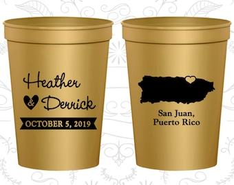 Puerto Rico Wedding Cups, Puerto Rico Wedding, Beer Cups, Destination Wedding, Wedding Cups, San Juan Cups (190)