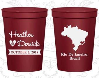 Brazil Wedding Cups, Brazil Wedding, Imprinted Wedding Cups, Destination Wedding, Plastic Beer Cups, Rio De Janeiro Cups (164)