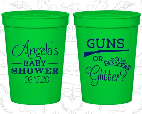 74e159d85b1 Guns or Glitter, Personalized Baby Shower Stadium Cups, Pink or Blue Cups,  Bow or Beau Cups, Baby Shower Favors (90130)