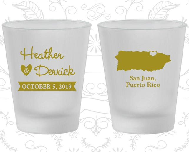 Puerto Rico Wedding, Frosted Glass, Destination Wedding, Frosted Shot Glasses, San Juan Wedding (190)