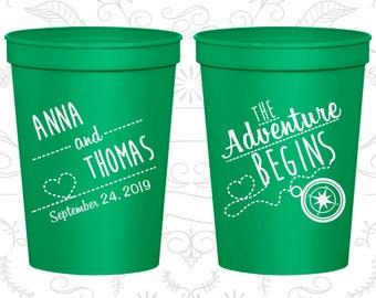 The Adventure Begins, Imprinted Stadium Cups, Compass, Destination Cups, Plastic Beer Cups (284)