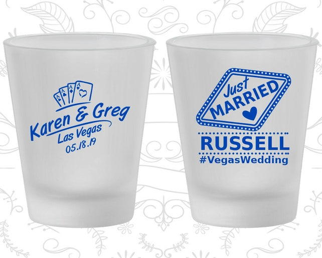Las Vegas Wedding, Frosted Glass, Playing Cards, Wedding Hashtag, Just Married Wedding, Frosted Shot Glasses (590)