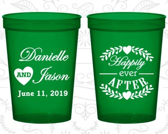 Happily Ever After Cups, Imprinted Drink Cups, Floral Wedding Cups, Heart, Plastic Beer Cups (274)